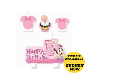 Minnie Mouse 1st CANDLE SET 4pcs ~ Happy Birthday Party Supplies Cake topper