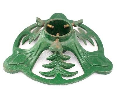 Christmas tree holder Stand Support Green Vintage French cast iron Decoration B9