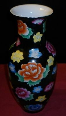 Vintage Large Chinese Famille Noir Porcelain Vase Excellent Condition