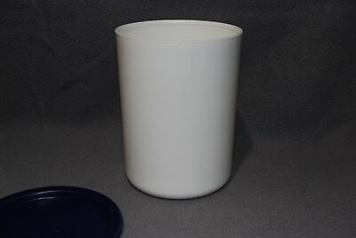 Tupperware 2422 Canister White with Dark Blue 2423 Touch Seal Lid EUC