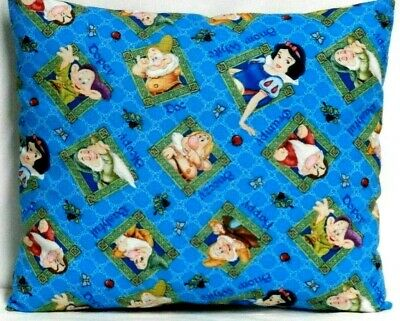 Snow White and Friends Toddler Pillow on Blue 100%Cotton PR42-1 New Handmade