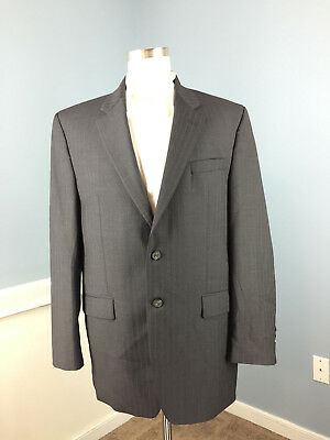 RALPH LAUREN Charcoal Gray Pinstripe Suit 100% WOOL 42 L Two Button Excellent