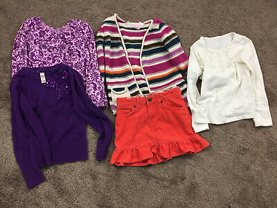 Lands' End Girls Lot 4 5 Long Sleeve Corduroy Skirt Cardigan sweater Fall Purple