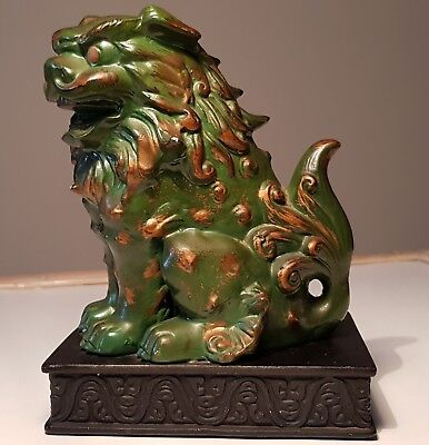 Antique Chinese Guardian Fu Lion Foo Dog Green Gold Ceramic Statue made in Japan