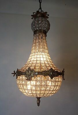 Small Empire Style Chandelier; Rewired and Restored. No 2 of a Pair