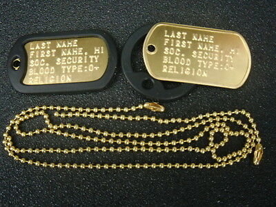 Brass U.s. Military Dog Tags Custom Embossed With Your Information Made-In-Usa