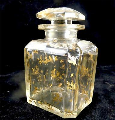 Antique 19Th Century French Cut Glass And Gilded Scent Perfume Bottle