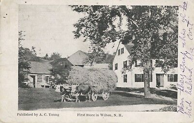 First Store in Wilton NH New Hampshire Oxen Wagon c1912 Antique Postcard E7