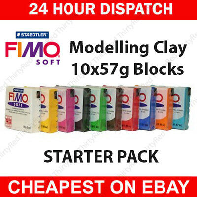 FIMO Soft Polymer Modelling Clay Starter Set of 10 x 57g Clays - Starter Colours