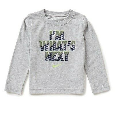 "New With Tags Boys Nike Longsleeve Grey Tshirt ""I'm What's Next"" 2 Toddler"