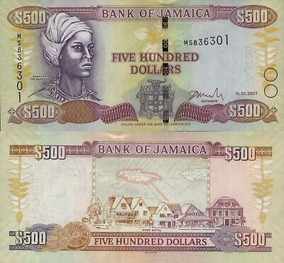 Jamaica 500 Dollars (15.01.2007) - Nanny of the Maroons/Port Royal/p85e UNC