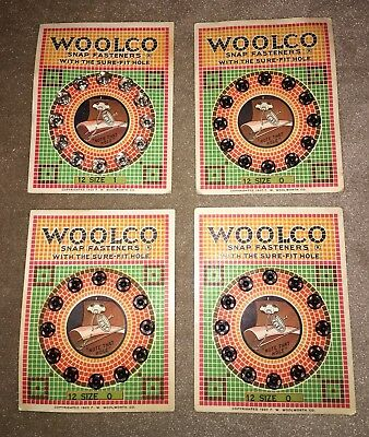 4 Antique Woolco Snap Fastners, Size 0 & 1, 1920, Woolworth, Sewing
