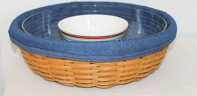 2005 Longaberger Serve Around Basket,  Protector With Lid, Pottery Bowl