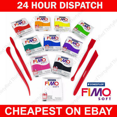 FIMO Soft Polymer Modelling Clay Beginners Set -10 x 57g Clays + Modelling Tools