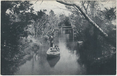 Antique Postcard / Boat in Canal / Japanese / c. 1930