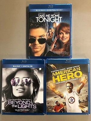 Blu-ray lot NEW! Free Ship Take me Home Tonight Beyond the Lights American Hero
