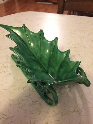 Vintage Atlantic Mold Christmas Green Holly Leaf Ceramic Sleigh Candy Dish