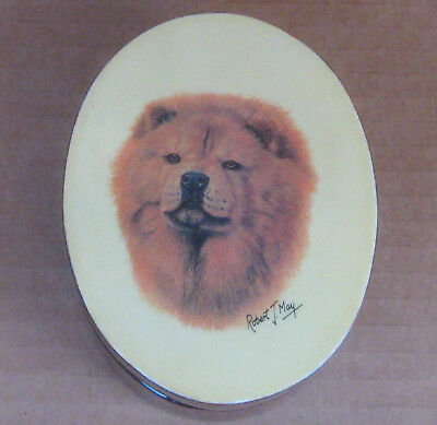 "Chow Chow Dog by Robert J May- Small Oval Lacquered Box Trinket Jewery 4""x3""x2"""