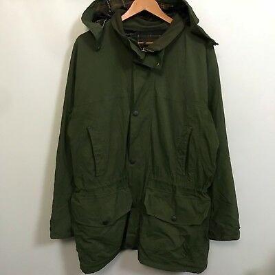 Barbour Plaid Lined Parka Jacket Mens SZ XL Field Army Style #V