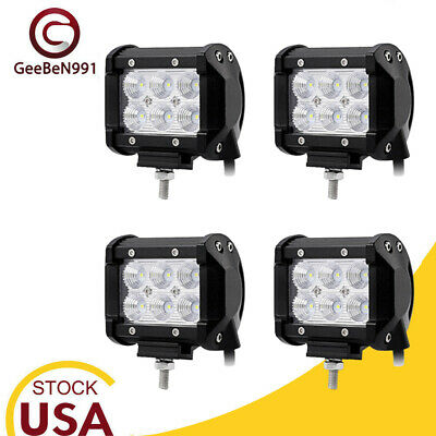 4x 18W Square Led Work Lights Pods spot Offroad Lamp For ATV JEEP UTE 4'' Cube