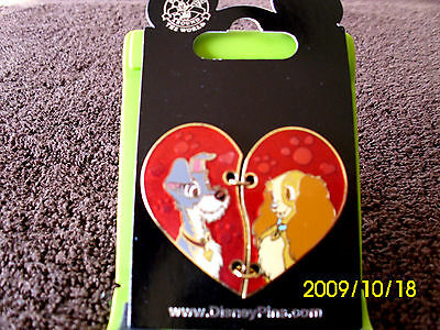Disney * LADY & TRAMP - 2 Piece Heart * New on Card Trading Pin