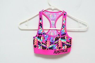 Justice Geometric Sports Bra Dance Cheer Girls 10 Pink Racerback