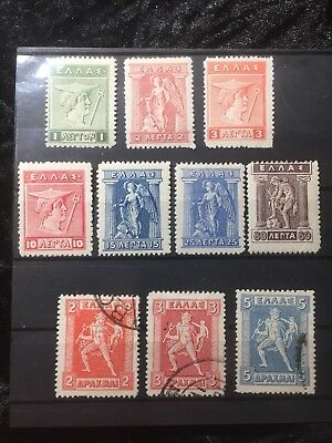 Scott #214-216, 219, 221, 225 (Mh) & 227-229 (Used) Greece Stamp Lot