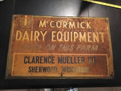 IH McCormick Dairy Equipment Sign Clarence Muller Co Sherwood Wisconsin 14.5x23