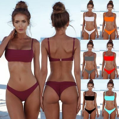 Summer Sexy Solid  Bikini Set  UnPadded Bra Swimsuit Triangle Bather Suit NEW
