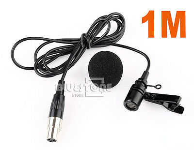 Lavalier Lapel Tie-clip Microphone for Shure Wireless Mini 4 PIN XLR Black