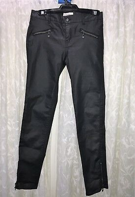Lee Cooper Size 12 Girls Black Leather Look Jeans Nwot