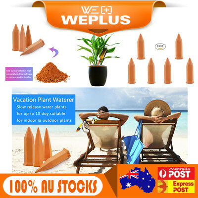 6PCS Terracotta Plant Self Watering Spikes Vacation Garden Stake Irrigation Tool