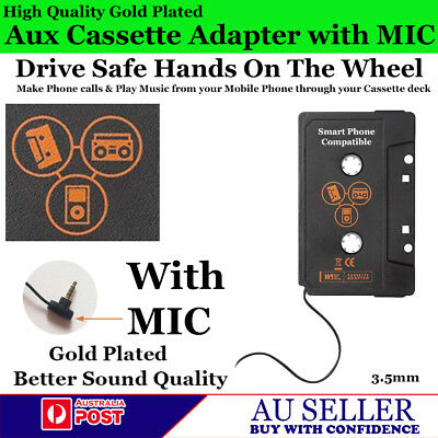 Audio Aux Tape Cassette Adapter Gold Plate for Mobile Phones Mp3 Cd Stereo + Mic