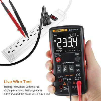 ANENG Q1 True-RMS Digital Multimeter Button 9999 Counts Voltage Ohm Ammeter Test
