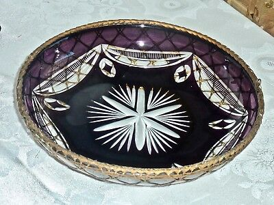 Exquisite Antique Crystal  Purple To Clear Bowl Ormolu  Gilt Metall  Bohemia