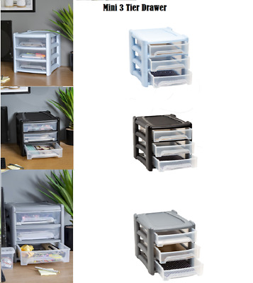Plastic Shallow Drawers Unit Office Home Bedroom Storage Desktop Tower Box Tidy