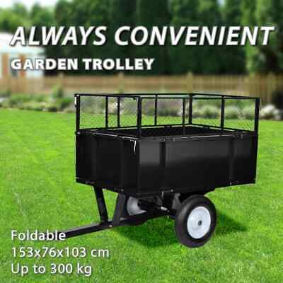 vidaXL Garden Trolley 300kg Cart Wagon Wheelbarrow Tipping Trailer Carrier