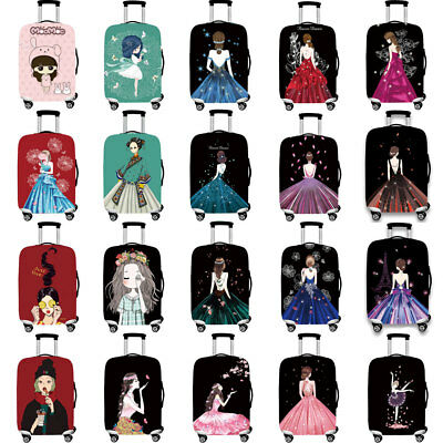 Cute Girl Elastic Suitcase Protector Travel Luggage Dustproof Cover 18 -32 inch