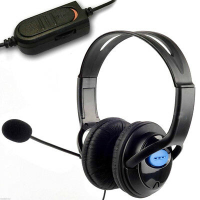 Deluxe Pro Headset Headphones Microphone with Mic Volume Control for PS4 and PC
