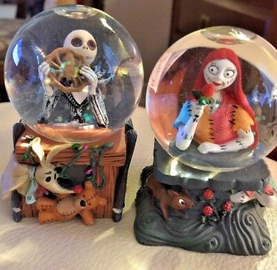 disney nightmare before christmas lot of 2 mini water globes jack sally