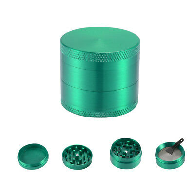4-Layers Dry Herb Grinder Spice Metal Crusher w/ Sifter+Magnetic Top Green BI965