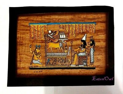 Antique Egyptian Papyrus Ancient EGYPT Mehit-Weret COW Goddess – Hand Paint