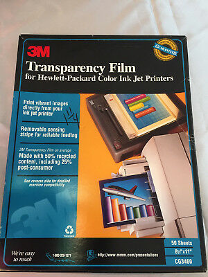 "3M Transparency Film HP Hewlett Packard Color Ink Jet Printers CG3460 8.5""x11"""