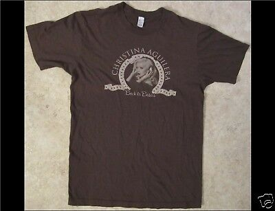 CHRISTINA AGUILERA Back To Basics Size Medium Brown T-Shirt