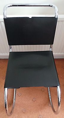 4 Or 1 Ludwig Mies Van Der Rohe Style Tubular Leather And Chrome Chairs. Used