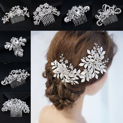 Silver Rhinestone Flower Pearls Hair Clip Pins Comb Bride Wedding Party Fashion
