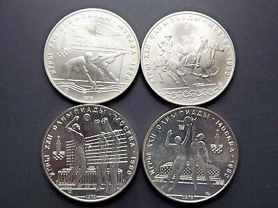 Lot of 4 - 1980 Moscow 10 Roubles Silver Olympic Coins/Cases Included
