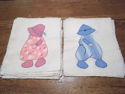 20 Vintage Hand Made Sewing Quilt Blocks Squares....boy/girl....unfinished
