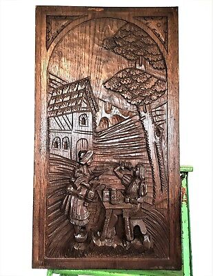 Gothic Bar Scene Panel Pair Antique French Hand Carved Wood Salvaged Paneling