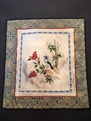 Vintage Chinese Art Embroidery Bird And Berry Flow Silk Coaster/placemate/doily